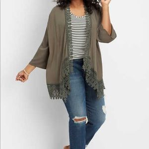 Maurices Sweaters - Maurices plus size crocheted trim cardigan